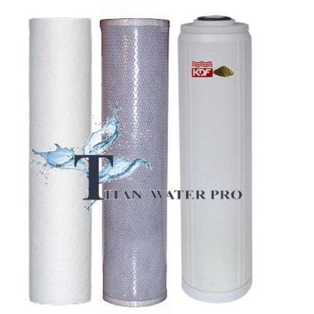 "Water Filter Combo Set Sediment/Carbon Block/GAC-KDF85 Filter Cartridge (20""x4.5"")"