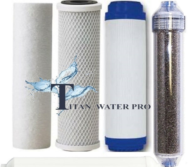 Replacement RO/DI Water FIlter Set - 1 Sediment, 1 GAC Carbon, 1 Carbon Block, 1 Inline DI Filter (4PC)
