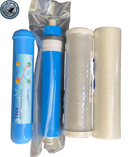 Replacement Filters Membrane & Alkaline Orp Filter Set for 4 Stage RO System