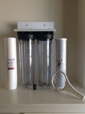 Whole House Water FIlter Big Blue Clear Housings - Sediment & Carbon