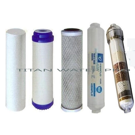 Water Filter Replacement 5 Pc Set Sediment/CTO/GAC/Alkaline Ionizer/Post Carbon