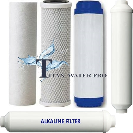5 pc RO Water Filter Replacement Set includes Post Alkaline Stage - 6 stage sys