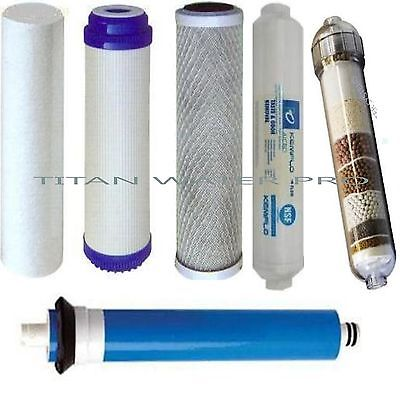 REVERSE OSMOSIS WATER FILTERS/MEMBRANE 6 PC Set-ALKALINE IONIZER NEG ORP-100GPD
