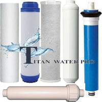 RO System 6 PC Full Replacement Set, Sediment, GAC, Carbon, RO Membrane 100 GPD< pH Enhancer filter, Post Carbon