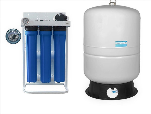 Light Commercial Reverse Osmosis Water Filter System 800 GPD with Booster Pump -40 G Tank