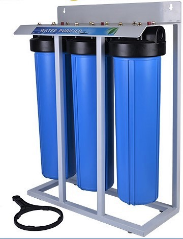"Whole House Filter (3) Big Blue 20""x4.5"" 1""PR Sediment~KDF55-85/GAC,Catalytic Carbon/Bone Char Mounted on Stand"