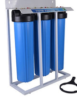 "Whole House Filter (3) Big Blue 20""x4.5"" 1""PR Sediment~GAC~Carbon - Stand Mounted"