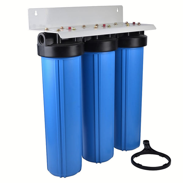 "Whole House - Light Commercial Water Filtration System Big Blue 20""x4.5"" Sediment/Kdf55 GAC/Carbon Block"