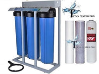 "Whole House Filter (3) Big Blue 20""x4.5"" 1""PR Sediment~KDF85/GAC~Carbon - Stand Mounted"
