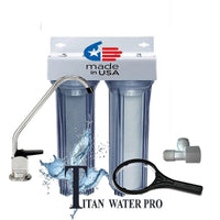 Under Sink Water Filter System - Sediment & Carbon Filter, 2 Stage-Clear Housing
