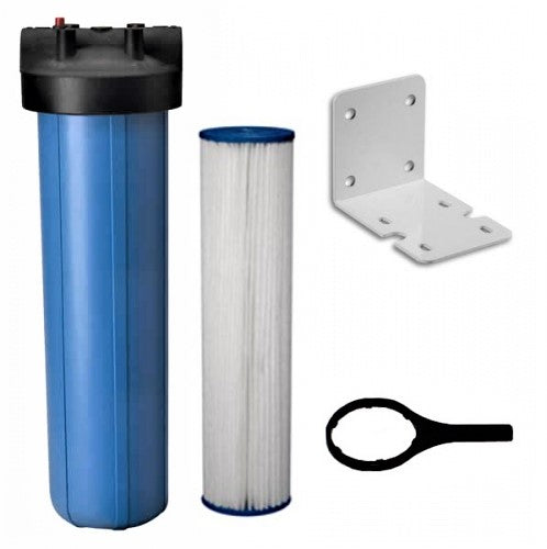 "Big Blue Water Filter Housing/Canister 1"" NPT w/ PR With Sediment Filter 20""x 4.5"""