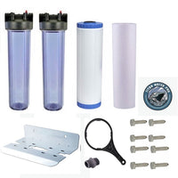 Whole House Big Blue Water Filter System - Sediment & KDF85/GAC Filter - Clear Housing