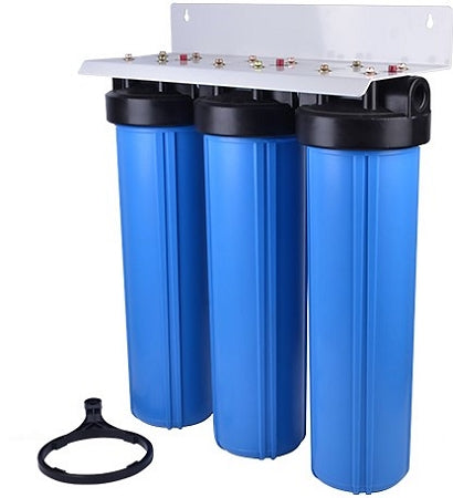 "BIG BLUE 20"" WATER FILTER SYSTEM 1"" PR Sediment/GAC KDF55/Carbon Block Filter"