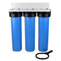 "Whole House - Light Commercial Water Filtration System Big Blue 20""x4.5"" Sediment/GAC Carbon/Carbon Block"