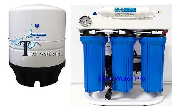 5 Stage Reverse Osmosis Water Filter System 300 GPD-Booster Pump -14 Gallon Tank