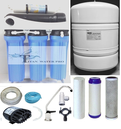 RO Reverse Osmosis Water Filter System 5 Stage 200 GPD Permeate Pump