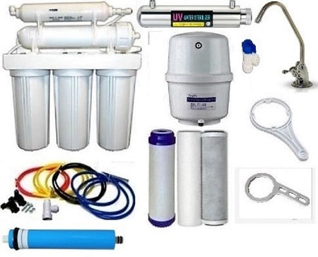 REVERSE OSMOSIS WATER FILTER 6 STAGE SYSTEM WITH UV Sterilization 100GPD