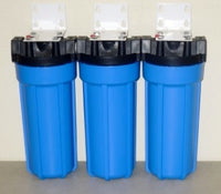 "Whole house water filtration system 3 Stage - Sediment, KDF55 GAC, Carbon Block 10"" Housings with Pressure Release."