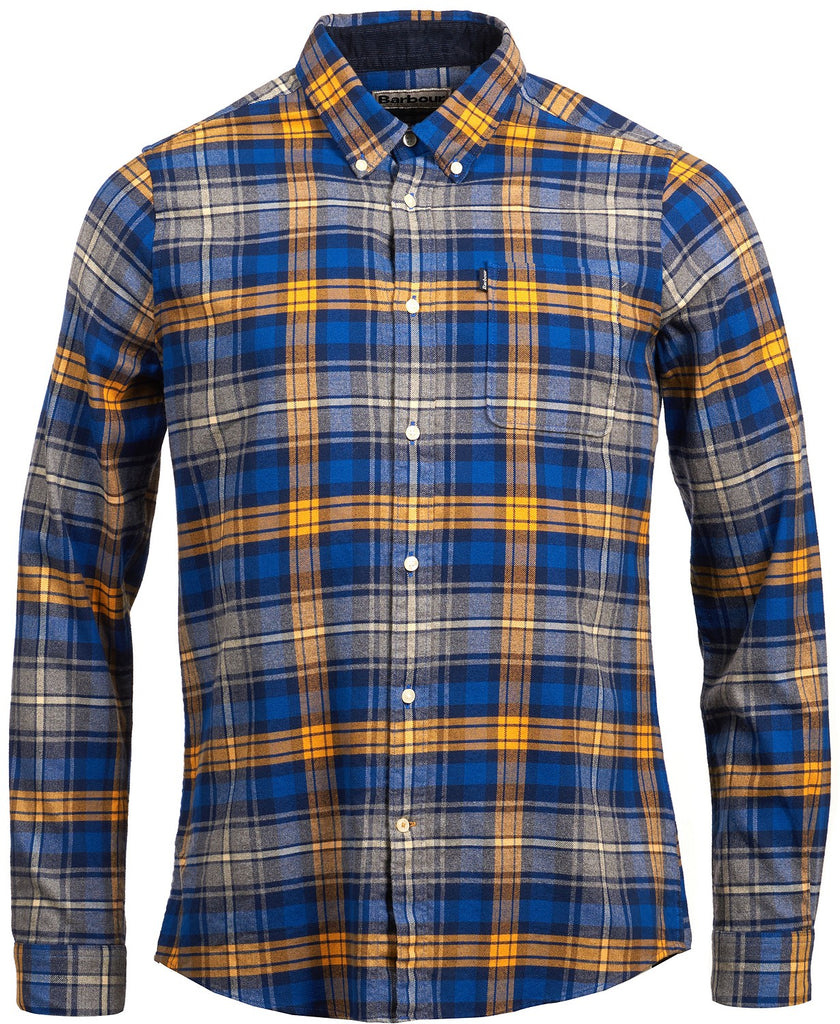 $149 Barbour Tailored Fit Flannel Endsleigh Plaid Button Shirt Large Blue Orange