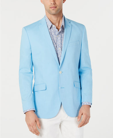 $295 Kenneth Cole Men's Slim-Fit Chambray Sport Coat 38L Sky Blue