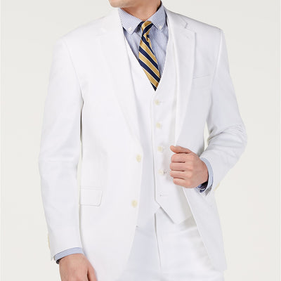Tommy Hilfiger Men's Modern-Fit Flex Stretch Chambray Suit Jacket White 36R