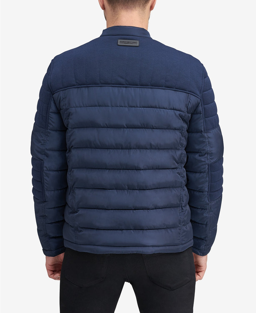$275 Marc New York Men's Faux-Down Moto Jacket Medium Navy Blue