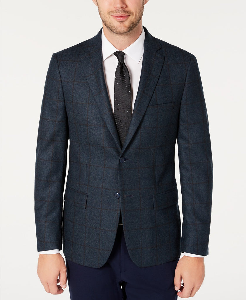 $350 Michael Kors Men's Classic-Fit Teal/Brown Windowpane Sport Coat 46R