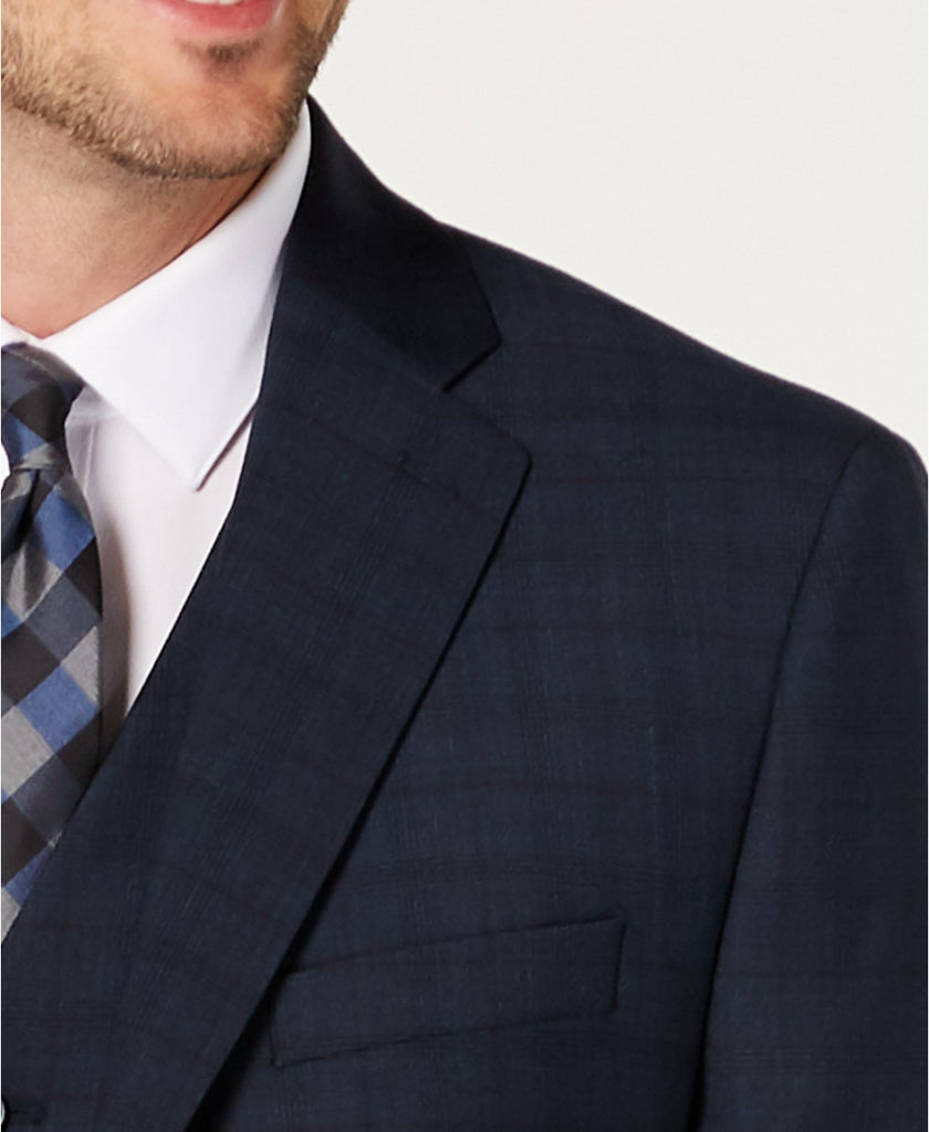 $800 Michael Kors Classic Airsoft Stretch Teal Plaid Vested Suit 48R / 40 x 30