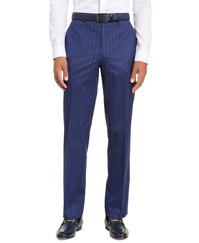 $135 Sean John Classic Stretch Blue Houndstooth Windowpane Dress Pants 33 x 32