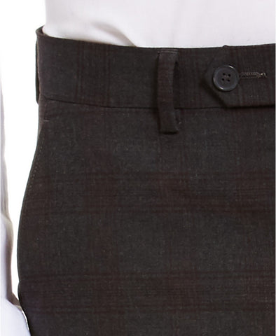 $95 Calvin Klein Skinny-Fit Stretch Plaid Dress Pants 33 x 30 Charcoal Burgundy