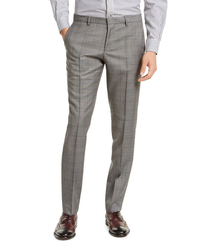 $198 Hugo Boss Men's Slim-Fit Gray Windowpane Check Dress Pants 30 x 32