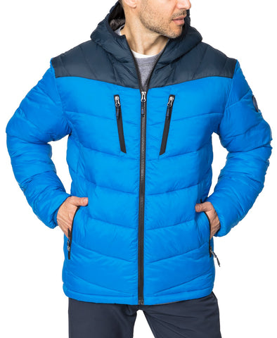 $125 Hawke & Co. Outfitter Men's Packable Chevron Parka Jacket Small Blue