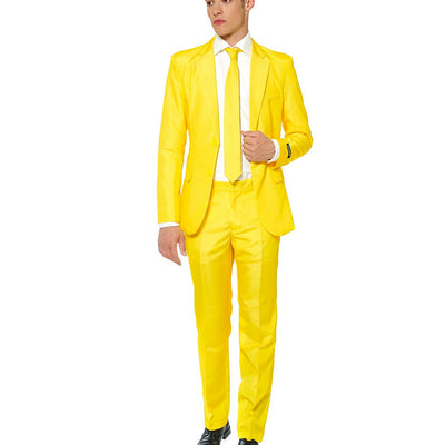 Suitmeister Men's Solid Yellow Color Slim Fit Suit 50 52 2XL