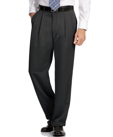 $85 Perry Ellis Classic Fit Pleated No Iron Microfiber Dress Pants 34 x 30 Black