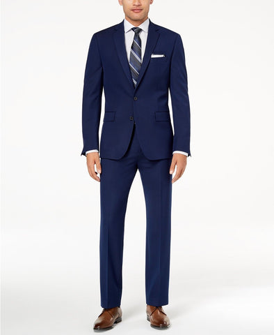$700 Ryan Seacrest Ultimate Modern Fit Stretch Suit 40R / 34 x 34 Blue