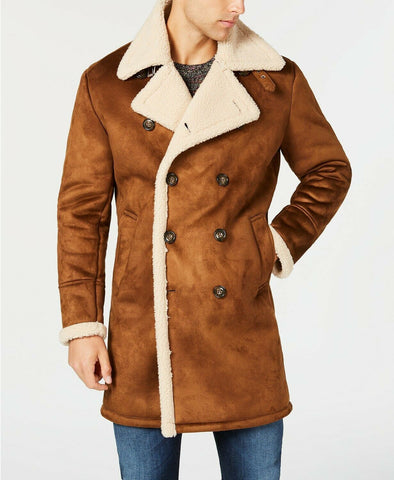 $495 GUESS Men's Faux-Shearling Overcoat Coat Large Brown