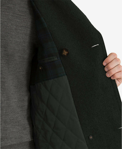 $350 Lauren Ralph Lauren Luke Solid Wool-Blend Peacoat Coat 42R Black NEW
