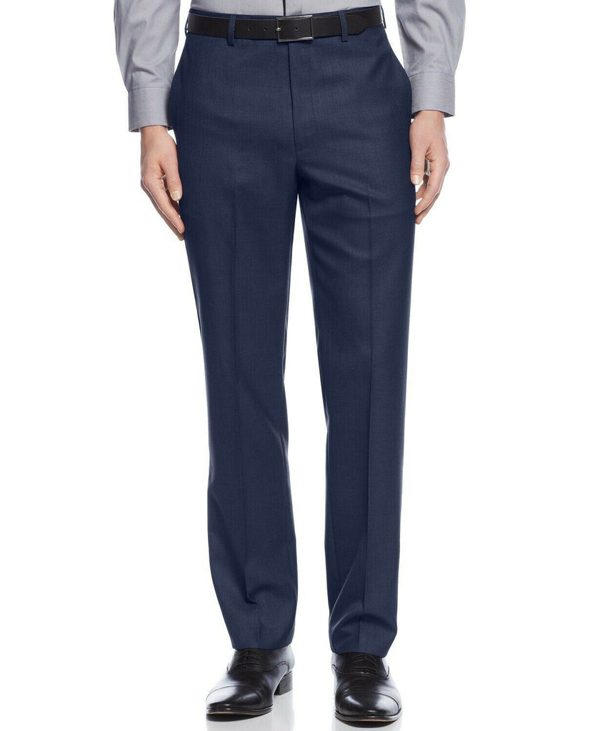 $95 Calvin Klein Slim-Fit Solid Dress Pants 34 x 29 Navy Blue Washable