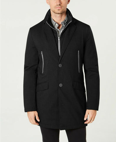 $395 Tommy Hilfiger Men's Modern-Fit Robert Raincoat Coat 40R Black NEW