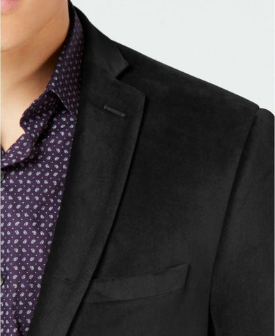 $295 Bar III Velvet Slim-Fit Sport Coat Jacket 42R Blazer BLACK