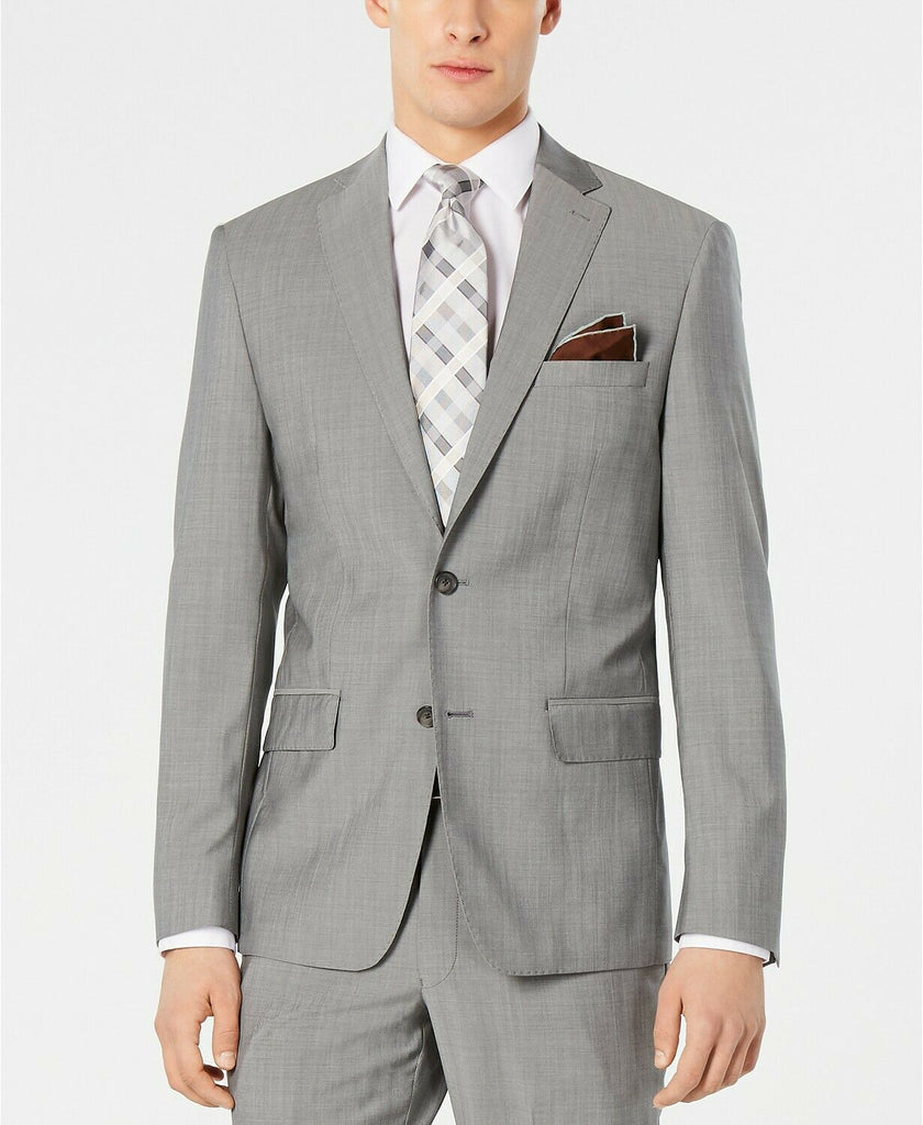 $525 DKNY Men's Modern-Fit Stretch Light Gray Suit Jacket 40S Wool