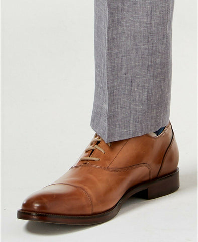 $120 Bar III Light Gray Chambray LINEN Slim-Fit Dress Pants 33 x 30