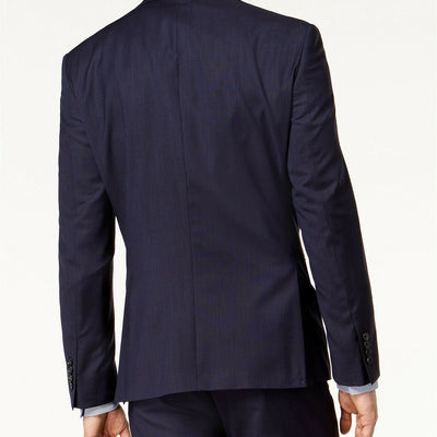 DKNY Men's Slim Fit Stretch Textured Suit 40R / 34 x 30 Navy Blue