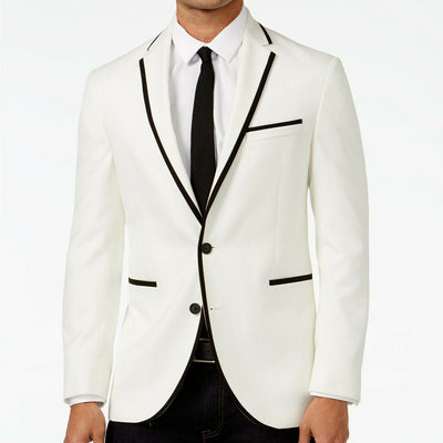 Kenneth Cole Reaction Slim-Fit White with Black Trim Dinner Jacket 36R