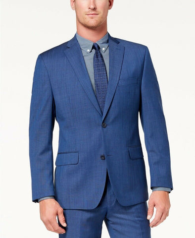 $650 Michael Kors Mens Classic-Fit Airsoft Stretch Suit 48R / 44 x 30 Blue
