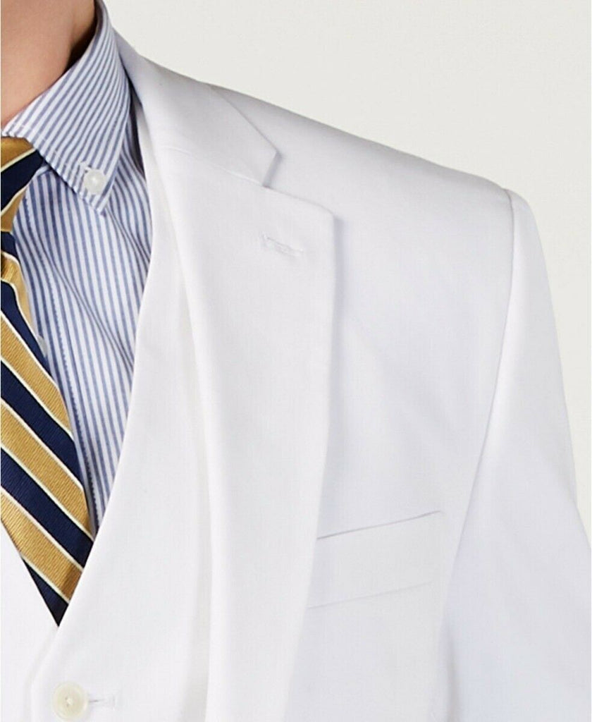 $275 Tommy Hilfiger Modern-Fit THFlex Stretch Solid White Suit Jacket 40R Cotton