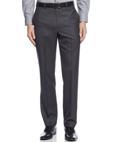 $95 Calvin Klein Slim-Fit Solid Dress Pants 33 x 32 Charcoal Grey WASHABLE
