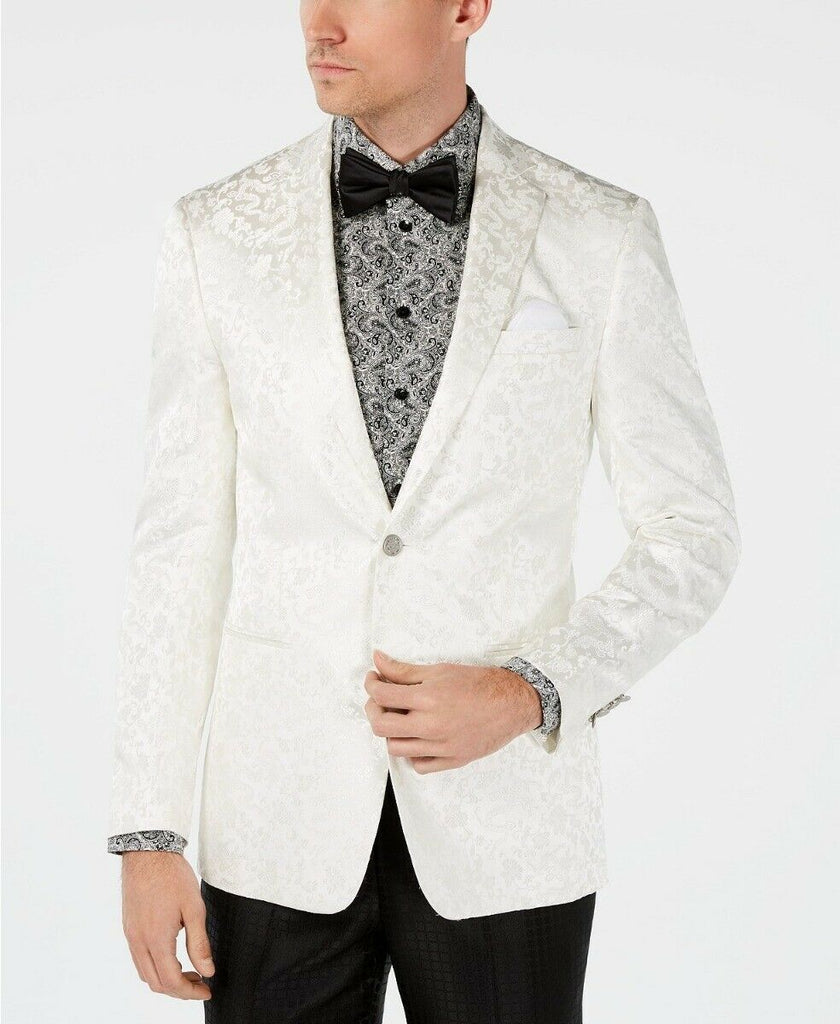$295 Tallia Slim-Fit White Dragon Jacquard Dinner Jacket Sport Coat 38S NEW