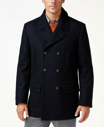 $350 Lauren Ralph Lauren Luke Solid Wool-Blend Peacoat Coat 38S Navy Blue