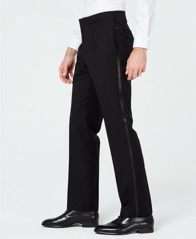 $135 Ryan Seacrest Distinction Black Modern-Fit Tuxedo Pants 36 x 30